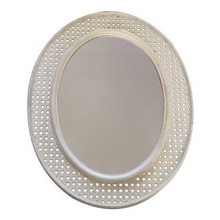 Midcentury White Cane Wall Mirror For Sale