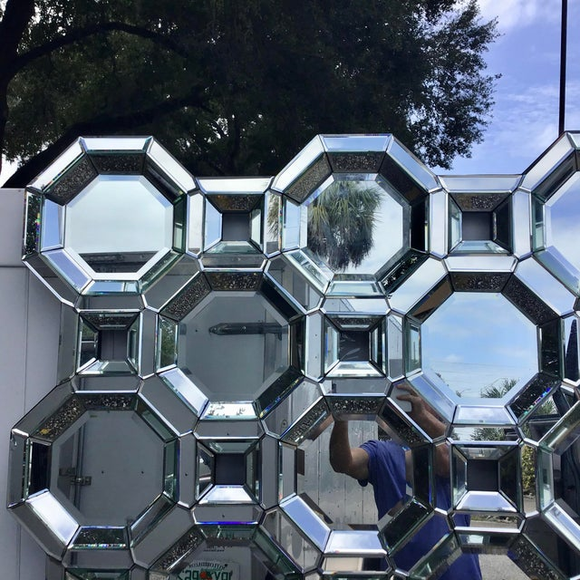 Mid-Century Modern Monumental Size Mid Century Style Geometric Wall Mirror For Sale - Image 3 of 7