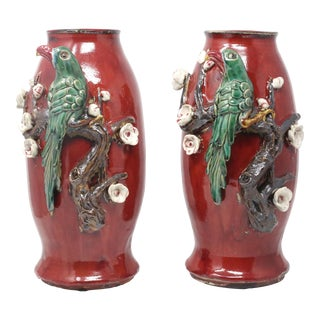 Vintage Majolica Pottery Vases With Sculpted Parrots and Branches - a Pair For Sale