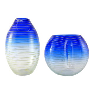 Yellow & Blue Stripe Barbini Murano Glass Vases- Set of 2 For Sale