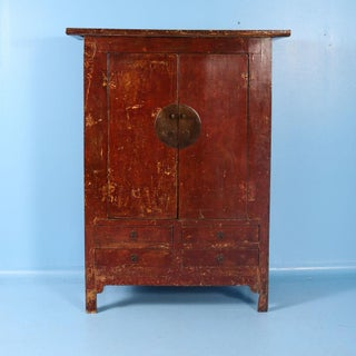 19th Century Antique Red Lacquered Cabinet Armoire From Shanxi, China Preview