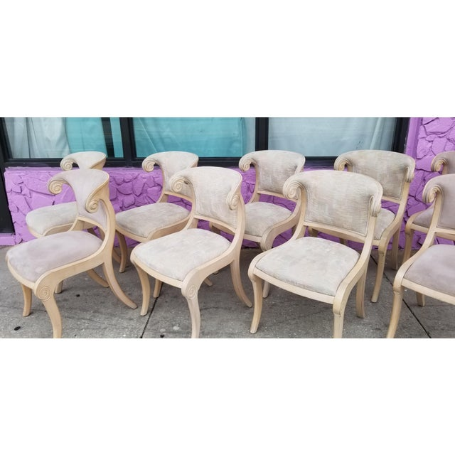 Hollywood Regency Neoclassical Klismos Style Dining Chairs - Set of 9 For Sale - Image 3 of 13
