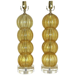 1980s Italian Amber Murano Glass Gold Stacked Ball Lamps - a Pair