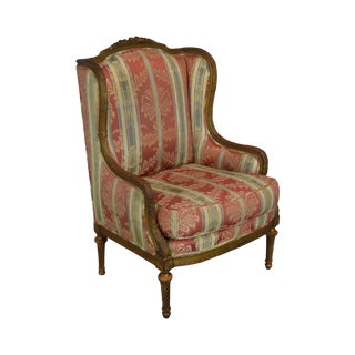 French Louis XVI Style Custom Quality Antique Bergere Wing Chair For Sale