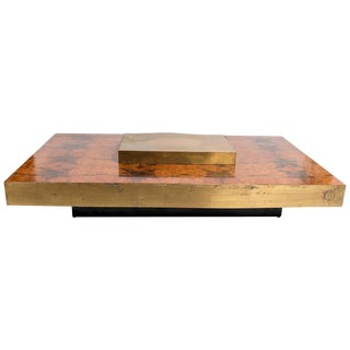 Rectangular Low Brass Centre Wooden Cocktail Table For Sale