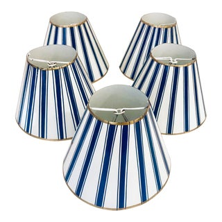 Blue Painted Nautical Stripe Tole Metal Sconce Shades - a Set of 5 For Sale