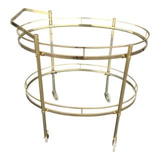 1970s Mid-Century Modern Brass Bar Cart