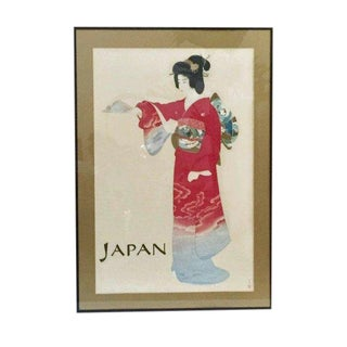 "Mid Century Japan Travel Poster Original 1960s Japanese Geisha in Kimono 40"" Framed For Sale"