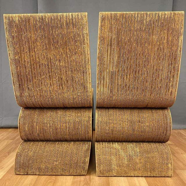 Pair of Early Frank Gehry Easy Edges Wiggle Side Chairs, 1972 For Sale - Image 9 of 13