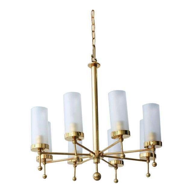 Italian Modern Brass and Glass Eight-Light Chandelier in the Manner of Stilnovo For Sale