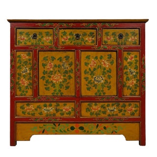 Antique Tibetan Hand Painted Cabinet For Sale