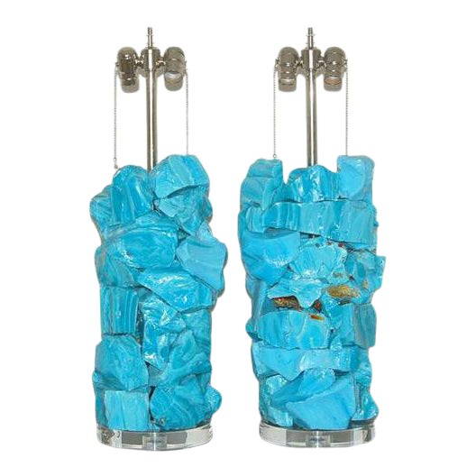 Glass Rock Table Lamps by Swank Lighting Blue For Sale - Image 10 of 10