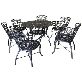 Ornate French New Orleans Style Patio Set - Umbrella Dining Table and 6 Chairs For Sale