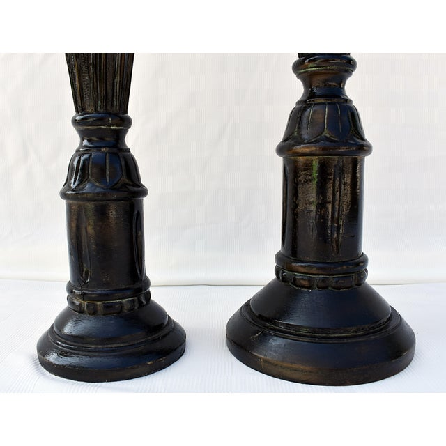 Traditional 1980s Traditional Wood Carved Candlesticks - a Pair For Sale - Image 3 of 7