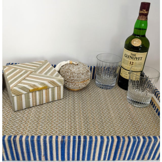 Early 21st Century Organic Rectangular Woven Tray With Cotton and Rattan For Sale - Image 5 of 10