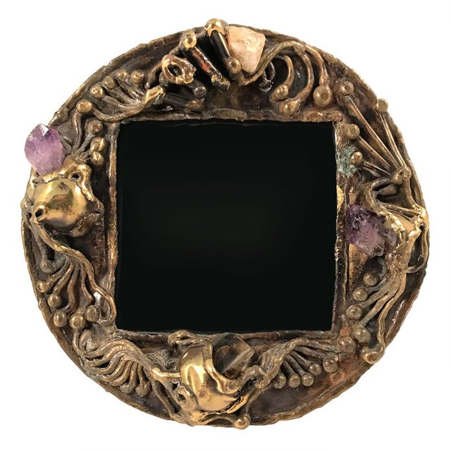 Purple 1970s Brutalist Brass Artisan-Made Picture Frame For Sale - Image 8 of 8