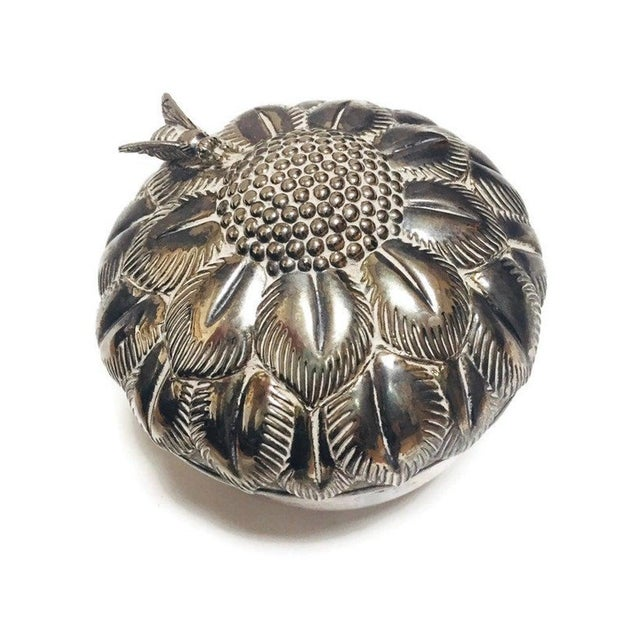 Mid Century Silver Flower Jewelry Box For Sale - Image 10 of 10