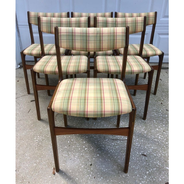 Danish Mid Century Modern Plaid Checked Wooden Dining Chairs- Set of 6