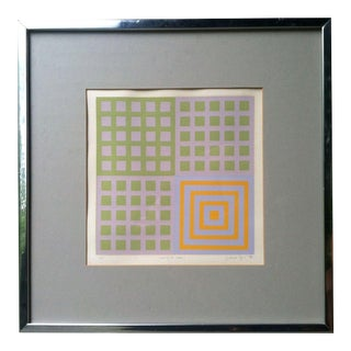 1970s Vintage Framed Abstract Silk Screen