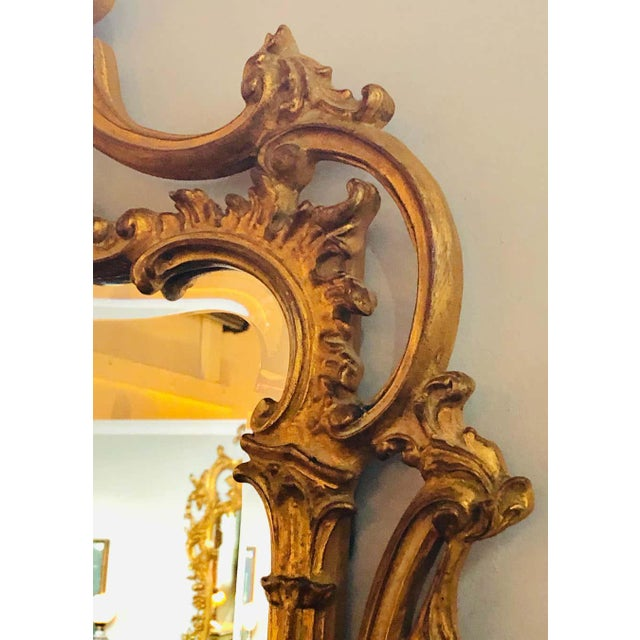 Pair of Louis XV Style Gilt Wall Console or Pier Mirrors With Beveled Glass For Sale - Image 10 of 12