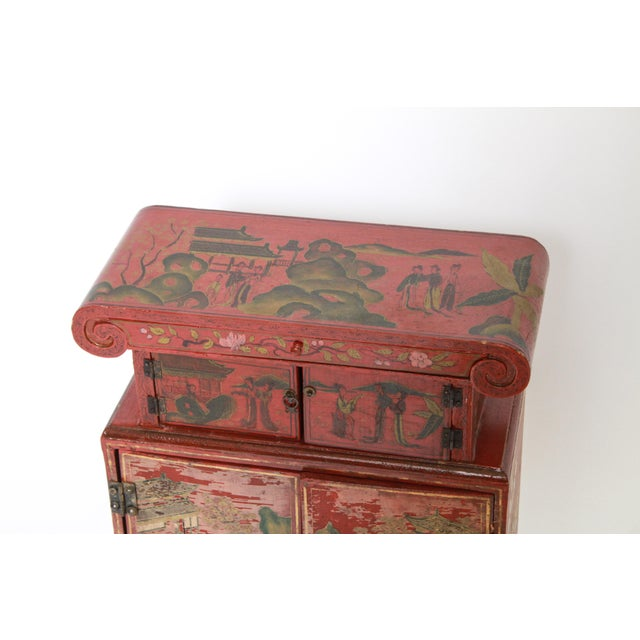 Chinoiserie Diminutive Cabinet With Painted Scenes For Sale - Image 4 of 7