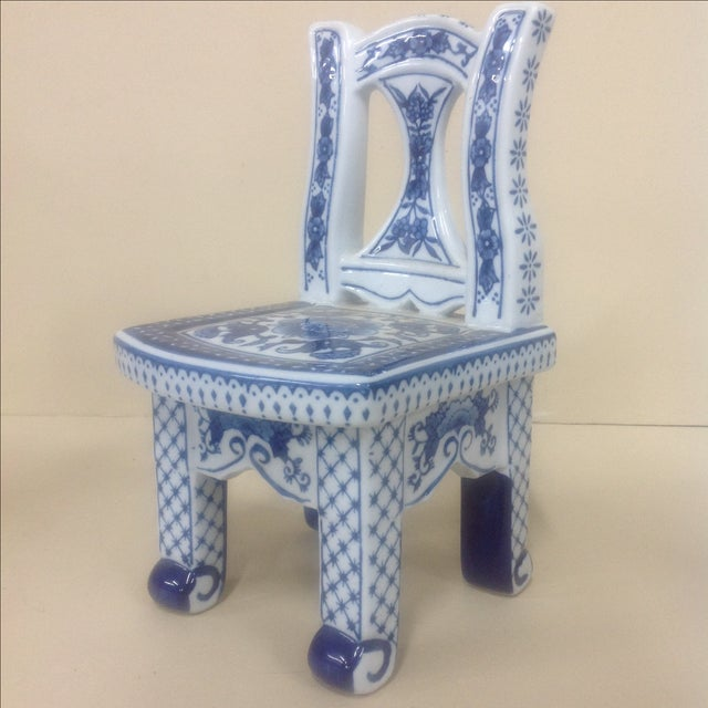 Chinese Porcelain Blue & White Chair Plant Stand. Pictured indecipherable mark.