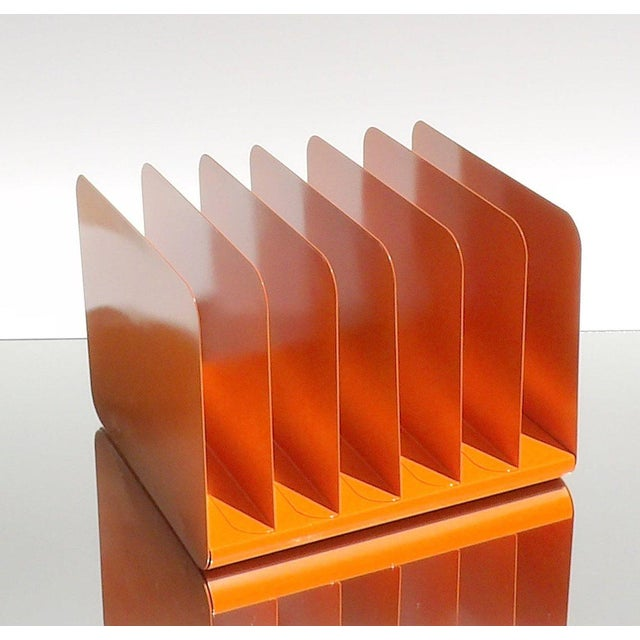 Industrial Orange Metal Desk Organizer For Sale - Image 3 of 6