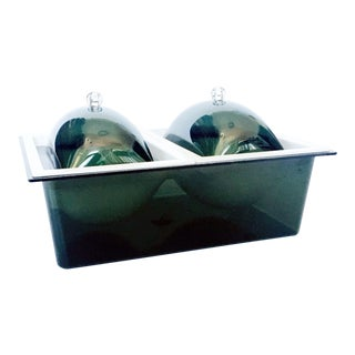 Mid Century Green Lucite Lidded Serving Dish