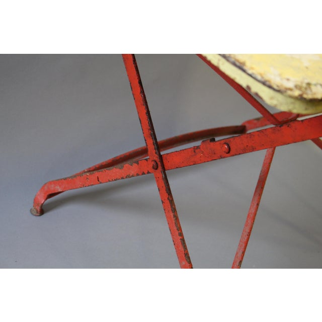 Metal Folding Painted Metal Bistro Table With Red Legs For Sale - Image 7 of 7