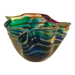 1993 Scott & Laura Curry Hand Blown Art Glass Bowl Dish For Sale