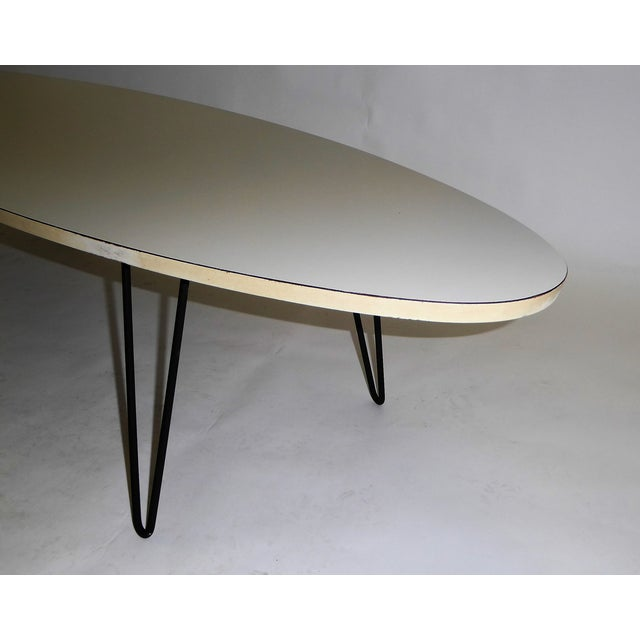White Mid-Century Modern Long Surfboard Cocktail Coffee Table C. 1950s For Sale - Image 8 of 13