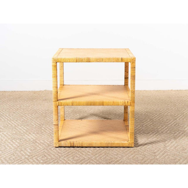 Three tier side table Rattan and raffia construction Natural finish