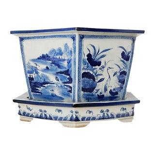 H Painted Blue & White Jardinière, 2 Pieces For Sale