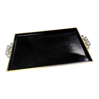 Vintage Mid-Century Moire Glaze Kyes Designer Handmade Black and Gold Metal Tray For Sale