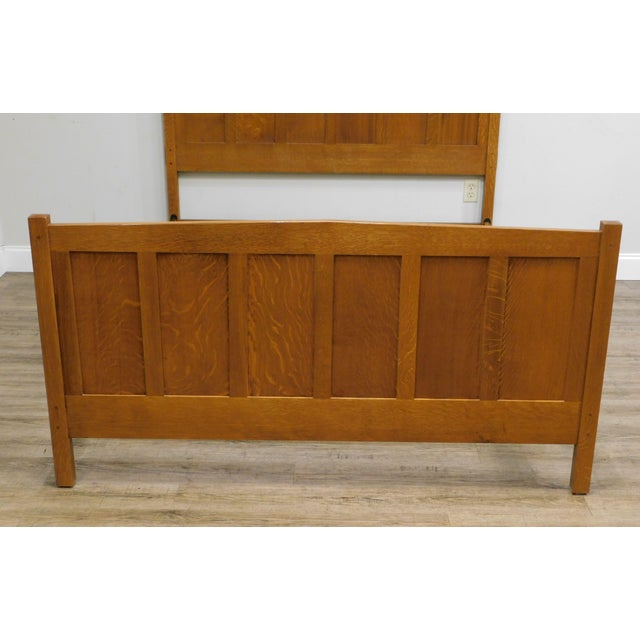 Stickley Mission Collection Oak Queen Size Panel Bed For Sale - Image 9 of 13