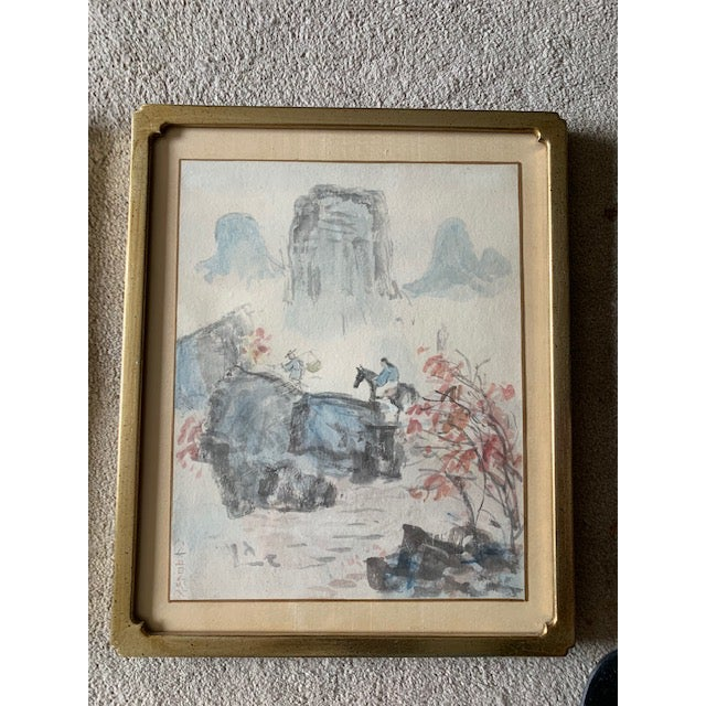 Asian Early 20th Century Antique Landscape Watercolor Paintings - Set of 4 For Sale - Image 3 of 10