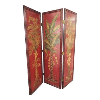Tropical Dark Red Bamboo Trim Wooden Folding Screen Room Divider For Sale