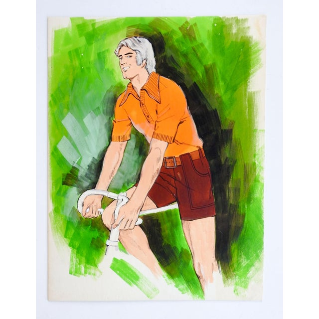 Circa 1980's gouache on artist board illustration painting of man on bicycle. Sporting an orange knit shirt and brown...