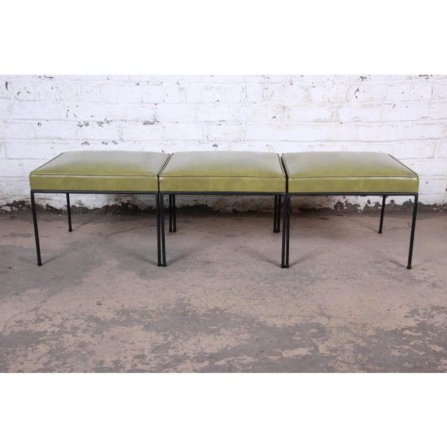 Iron Paul McCobb Upholstered Iron Stools or Ottomans, Set of Three For Sale - Image 7 of 12