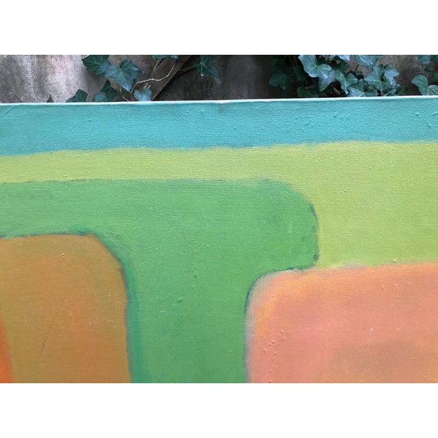 Abstract Large Vintage Mid Century Abstract Oil Painting on Canvas in the Style of Josef Albee's For Sale - Image 3 of 9