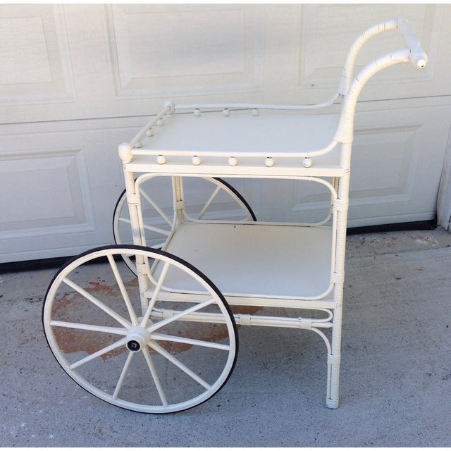 Vintage Heywood-Wakefield Wicker Bar Cart - Image 2 of 6