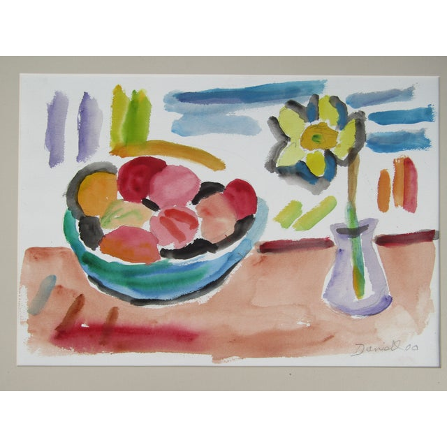 "George Daniell ""Flowers & Fruit"" Still Life Watercolor - Image 3 of 5"