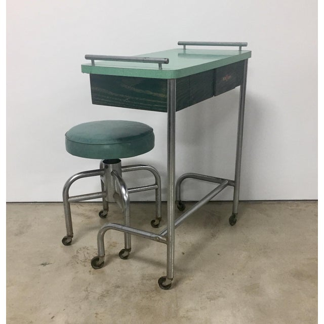 Chrome 1940s Industrial Tubular Steel Rolling Stool and Cantilevered Table For Sale - Image 7 of 7
