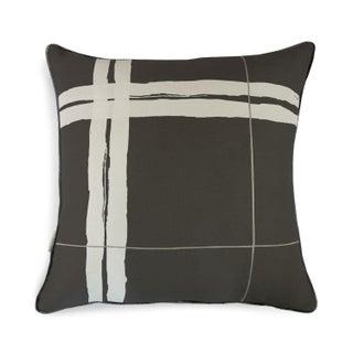 """Brushstroke Plaid Black & White 22"""" Pillow For Sale"""