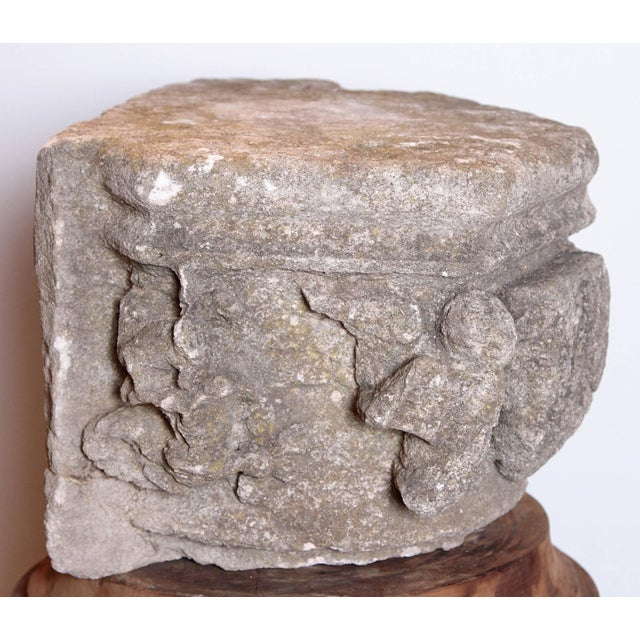Stone Rare 16th Century Architectural Stone Capital From France For Sale - Image 7 of 10