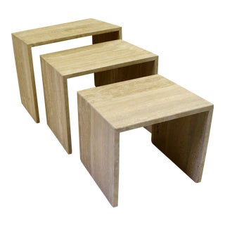 Minimalist Travertine Nesting Tables - Set of 3 For Sale
