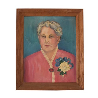Portrait of Lady in Blue and Pink With Floral Detail on Canvas in Wood Frame Signed For Sale