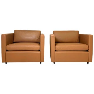 Charles Pfister for Knoll Petite Tuxedo Box Club Chairs in Saddle Leather - a Pair For Sale