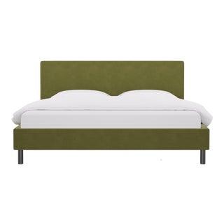 King Tailored Platform Bed in Moss Velvet For Sale