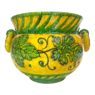 Vintage Mid Century Italian Art Pottery Majolica Jardiniere Hand Painted Ceramic Planter Urn For Sale